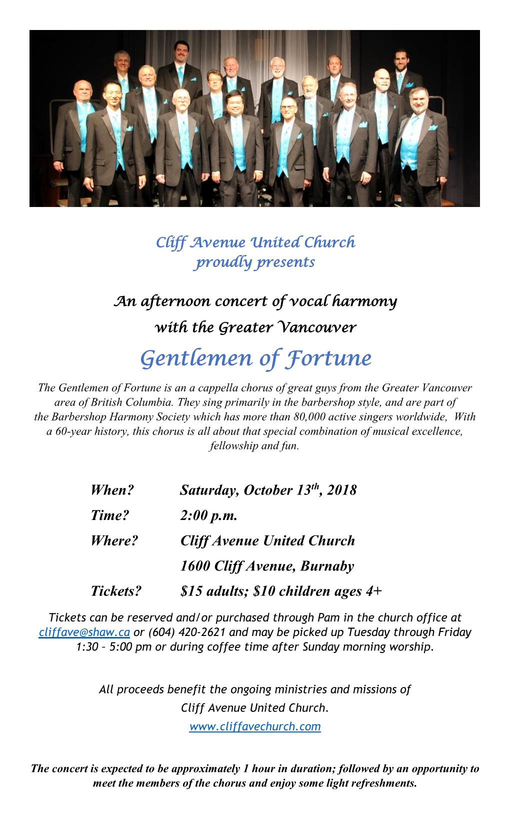 An Afternoon Of Vocal Harmony with the Greater Vancouver Gentlemen of Fortune @ Cliff Avenue United Church (Burnaby, BC)